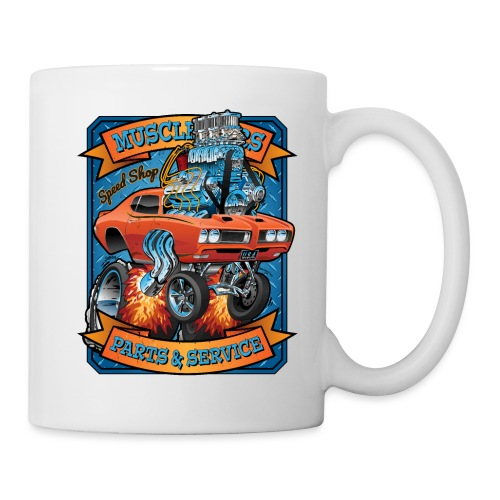 Classic Sixties Muscle Car Parts & Service Cartoon - Coffee/Tea Mug