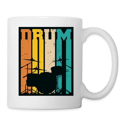 Retro Drum Set Silhouette Illustration - Coffee/Tea Mug