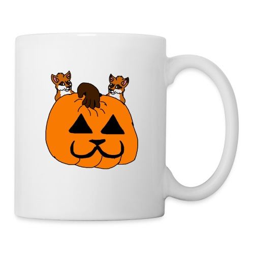 foxes with pumpkin - Coffee/Tea Mug