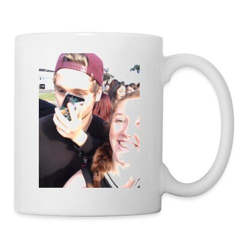 Luke Hemmings with a phone in his face - Coffee/Tea Mug