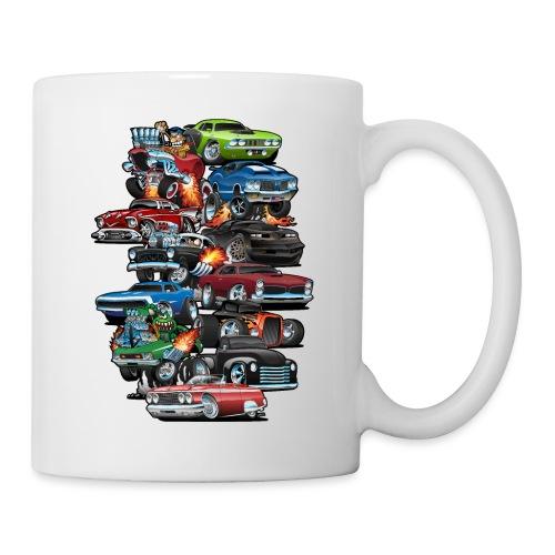Car Madness! Muscle Cars and Hot Rods Cartoon - Coffee/Tea Mug