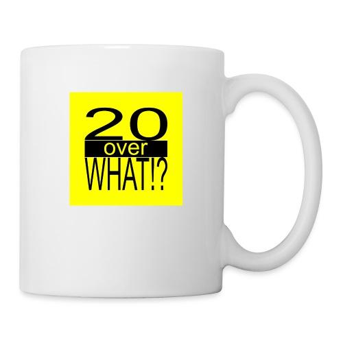20 over WHAT!? logo (black/yellow) - Coffee/Tea Mug