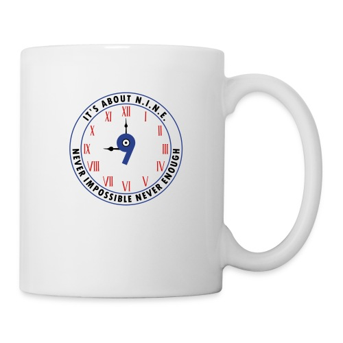 NINE Logo v2 2018 blue Outlines Red Numbers - Coffee/Tea Mug