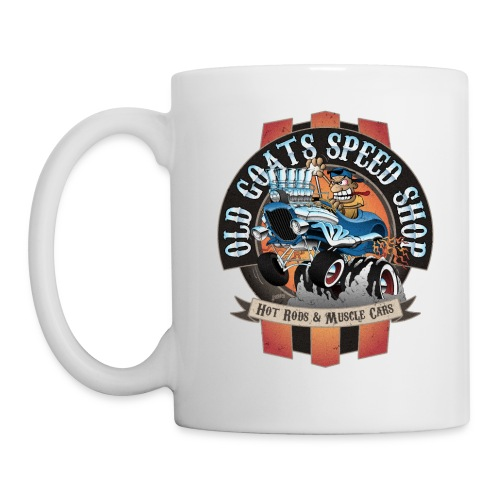 Old Goats Speed Shop Vintage Car Sign Cartoon - Coffee/Tea Mug