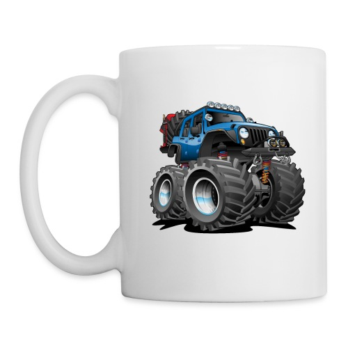 Off road 4x4 blue jeeper cartoon - Coffee/Tea Mug