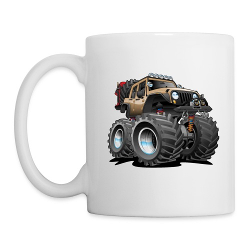 Off road 4x4 desert tan jeeper cartoon - Coffee/Tea Mug
