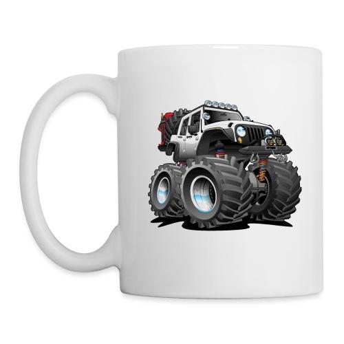Off road 4x4 white jeeper cartoon - Coffee/Tea Mug