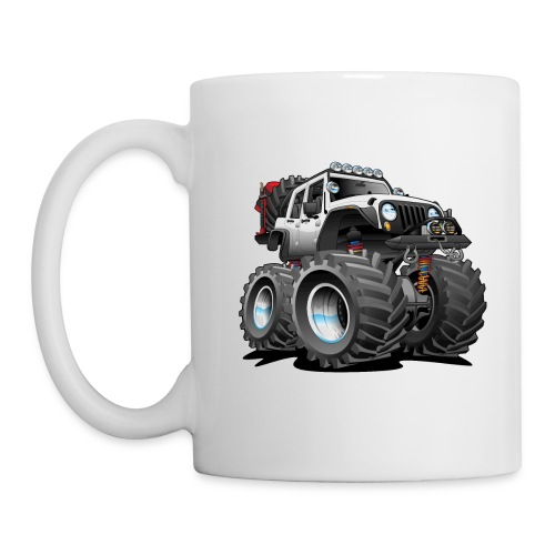 Off road 4x4 white jeeper cartoon - Coffee/Tea Mug