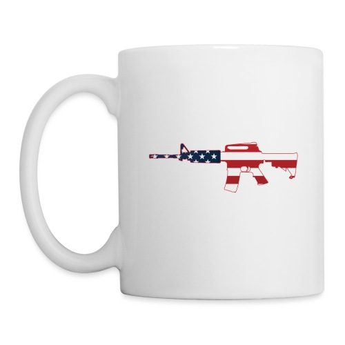 AR-15 Stars & Stripes Rifle Silhouette - Coffee/Tea Mug