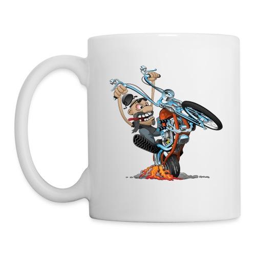 Funny biker riding a chopper cartoon - Coffee/Tea Mug