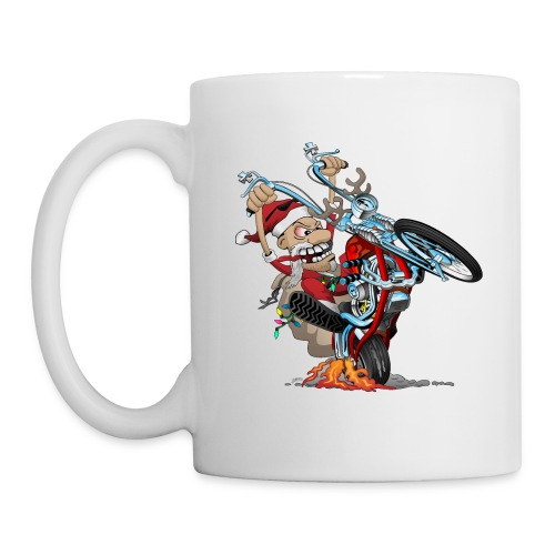 Biker Santa on a chopper cartoon illustration - Coffee/Tea Mug