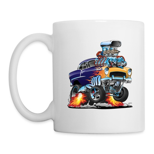 Classic Fifties Hot Rod Muscle Car Cartoon - Coffee/Tea Mug