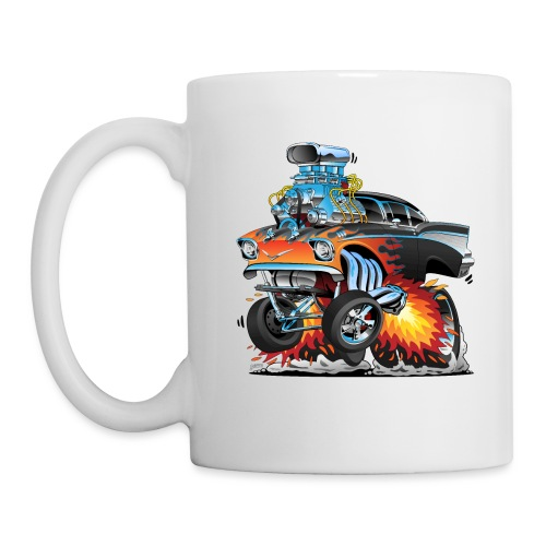 Classic hot rod 57 gasser dragster car cartoon - Coffee/Tea Mug