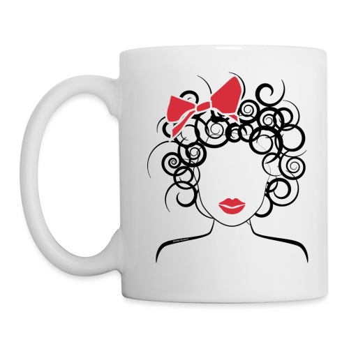Curly Girl with Red Bow_Global Couture_logo T-Shir - Coffee/Tea Mug