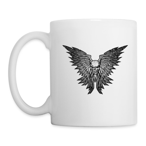 Classic Distressed Skull Wings Illustration - Coffee/Tea Mug