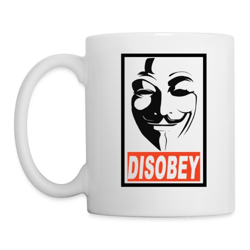 Anonymous White Disobey gif - Coffee/Tea Mug