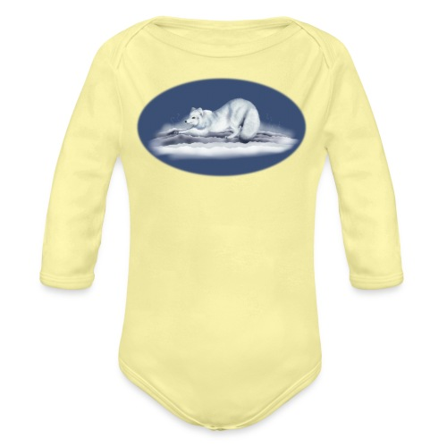 Arctic Fox on snow - Organic Long Sleeve Baby Bodysuit