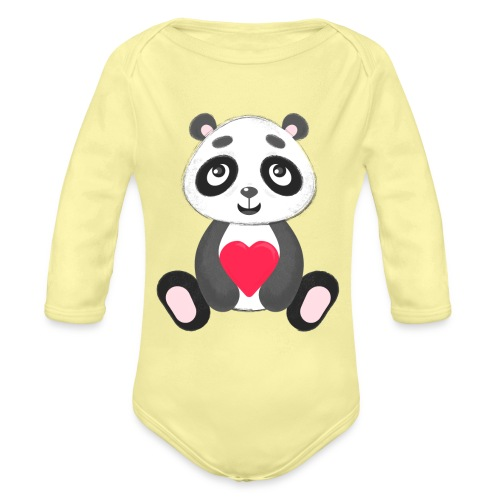Sweetheart Panda - Organic Long Sleeve Baby Bodysuit