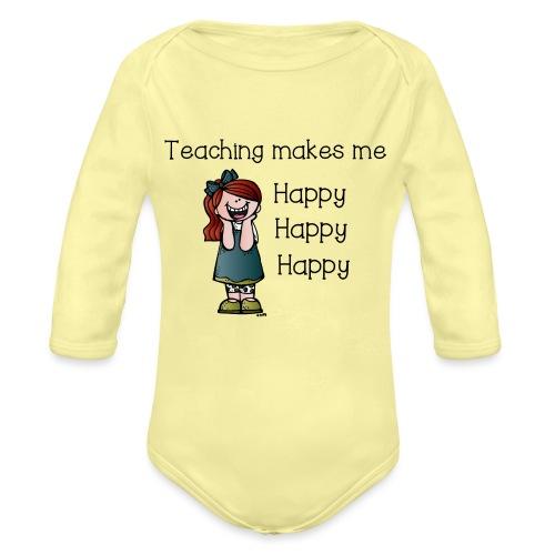 happy - Organic Long Sleeve Baby Bodysuit