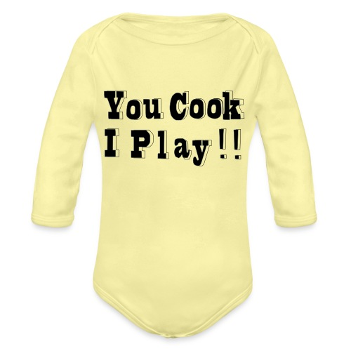 Blk & White 2D You Cook I Play - Organic Long Sleeve Baby Bodysuit