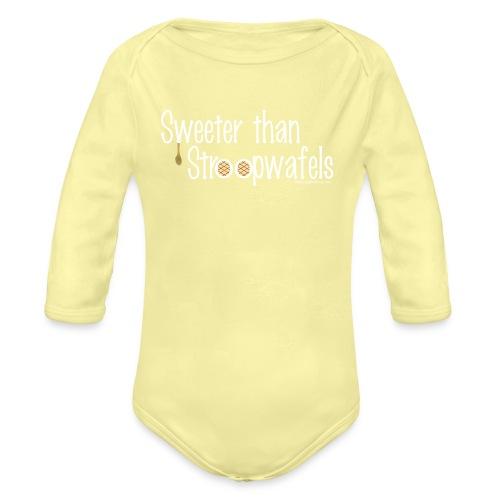 Stroopwafles white lettering - Organic Long Sleeve Baby Bodysuit