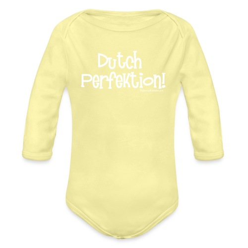 Dutch Perfection white lettering - Organic Long Sleeve Baby Bodysuit