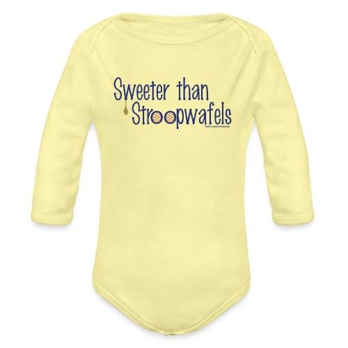 Stroopwafels blue lettering - Organic Long Sleeve Baby Bodysuit