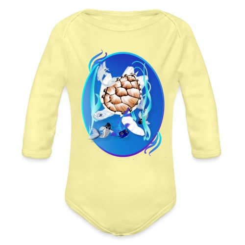 Big White Turtle and Friends Oval - Organic Long Sleeve Baby Bodysuit