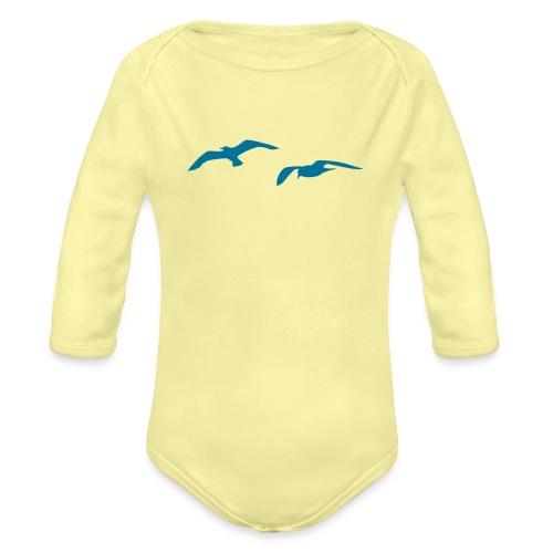 sea gull seagull harbour bird beach sailing ocean - Organic Long Sleeve Baby Bodysuit