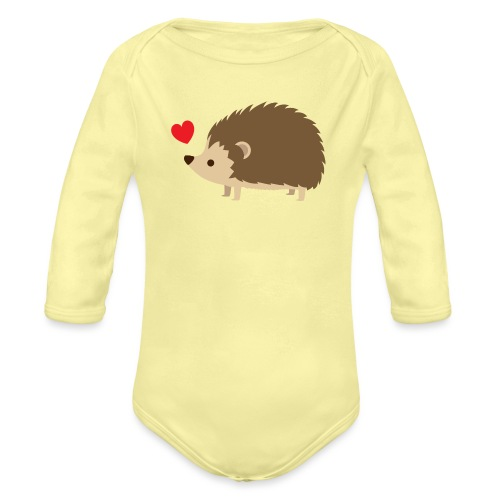 Hedgehog with Heart - Organic Long Sleeve Baby Bodysuit