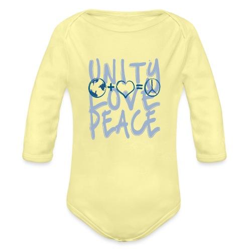 Unity Love Peace - Organic Long Sleeve Baby Bodysuit