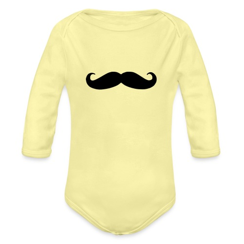 mustache - Organic Long Sleeve Baby Bodysuit