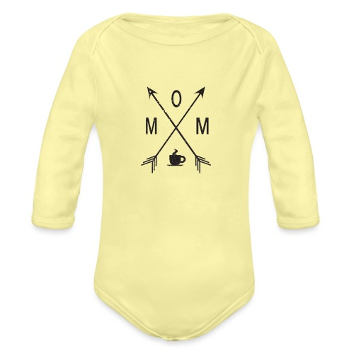 Mom Loves Coffee (black ink) - Organic Long Sleeve Baby Bodysuit