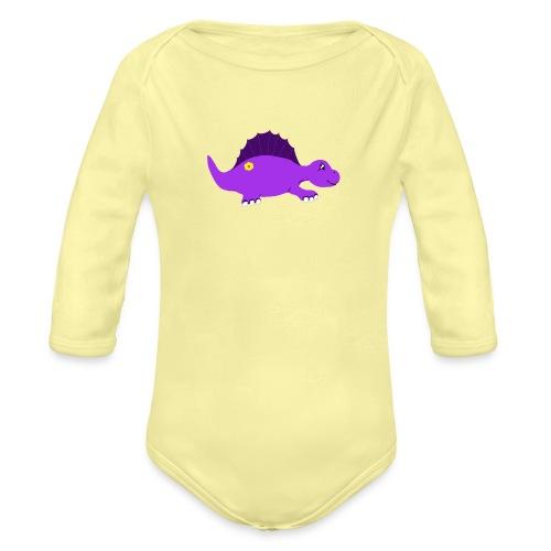 Cute Purple Stegosaurus - Organic Long Sleeve Baby Bodysuit