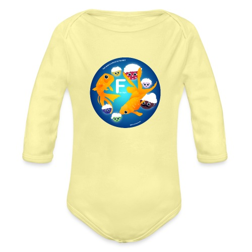 The Babyccinos The Letter F - Organic Long Sleeve Baby Bodysuit
