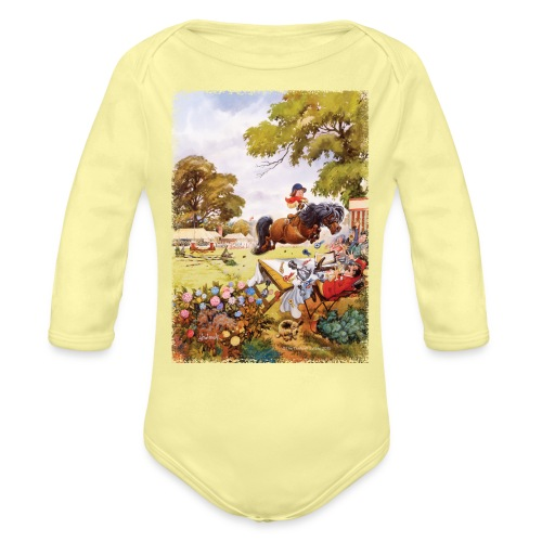PonyTournament Thelwell Cartoon - Organic Long Sleeve Baby Bodysuit