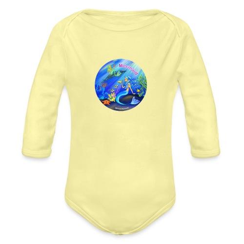 Mermaid print - Organic Long Sleeve Baby Bodysuit