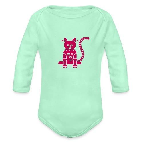 catbot - Organic Long Sleeve Baby Bodysuit
