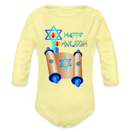 Happy Hanukkah and Torah - Organic Long Sleeve Baby Bodysuit