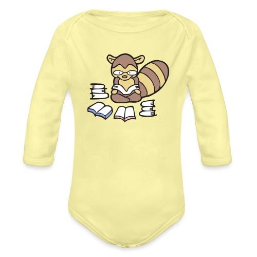 Reading Raccoon - Organic Long Sleeve Baby Bodysuit