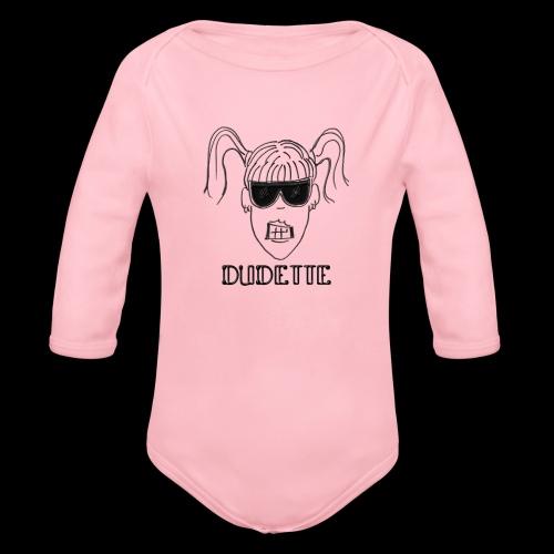 Dudette Head 1 - Organic Long Sleeve Baby Bodysuit