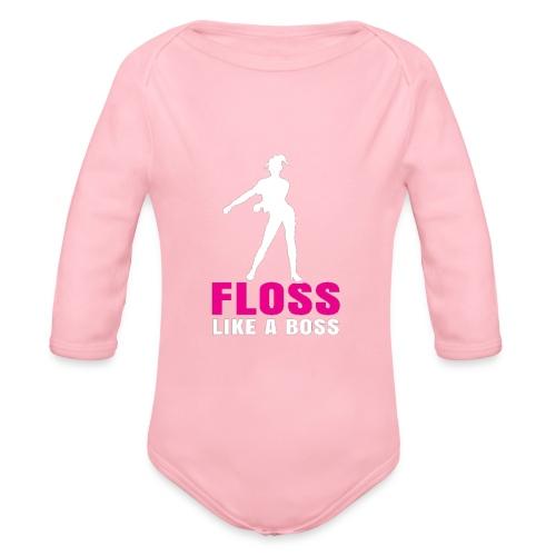 the floss like a boss shirt - water flosser - Organic Long Sleeve Baby Bodysuit