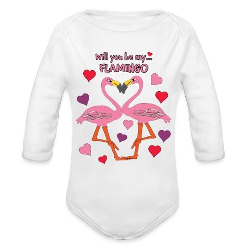 Will You be my Flamingo Valentine Kisses - Organic Long Sleeve Baby Bodysuit