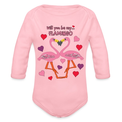 Will You be my Flamingo Valentine Kisses - Organic Long Sleeve Baby Bodysuit