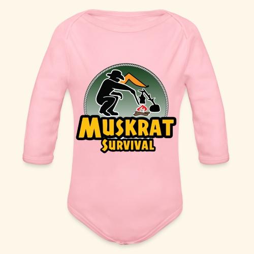 Muskrat round logo - Organic Long Sleeve Baby Bodysuit