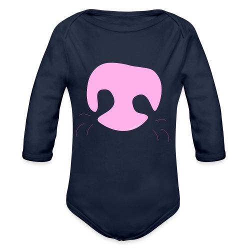 Pink Whimsical Dog Nose - Organic Long Sleeve Baby Bodysuit