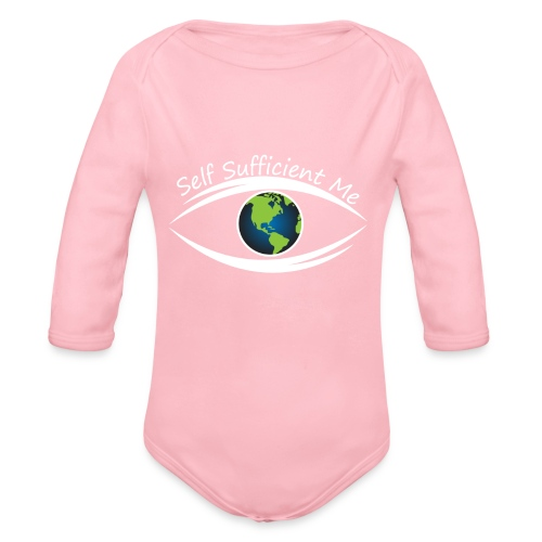 Self Sufficient Me Logo white small coy design - Organic Long Sleeve Baby Bodysuit