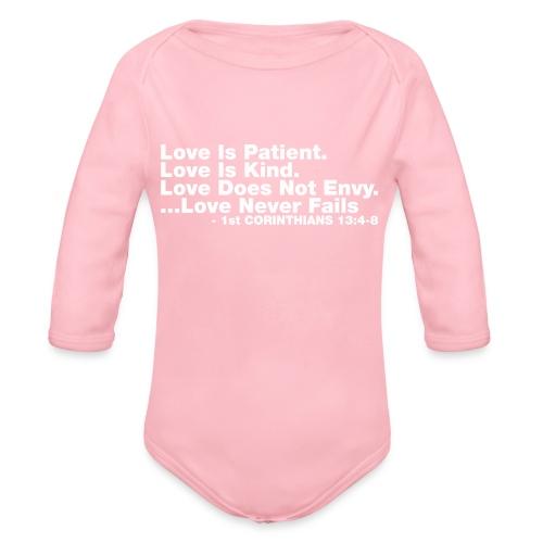 Love Bible Verse - Organic Long Sleeve Baby Bodysuit