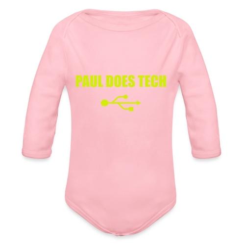 Paul Does Tech Yellow Logo With USB (MERCH) - Organic Long Sleeve Baby Bodysuit