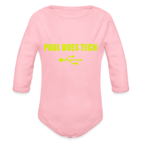 Paul Does Tech Yellow Logo With USB (MERCH) - Organic Long Sleeve Baby Bodysuit